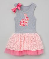 Beary Basics Pink Bunny Floral Tutu Dress - Infant Toddler & Girls