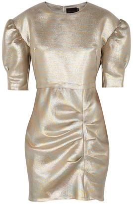 Birgitte Herskind Baker Puff-sleeve Lame Mini Dress
