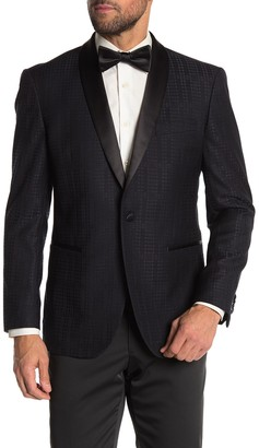Kenneth Cole Reaction Blue Tonal Houndstooth One Button Shawl Lapel Performance Stretch Slim Fit Evening Jacket