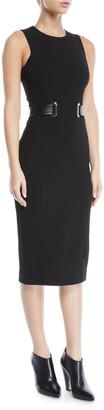 Michael Kors Sleeveless Jewel-Neck Boucle Crepe Midi Sheath Dress with Belt