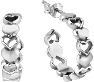Aeravida Handmade Loving Bonds Linked Hearts .925 Sterling Silver Post Hoop Earrings