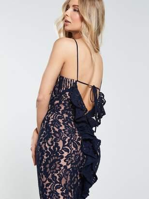 Jarlo Dahlia High Neck Lace Midi Dress - Navy