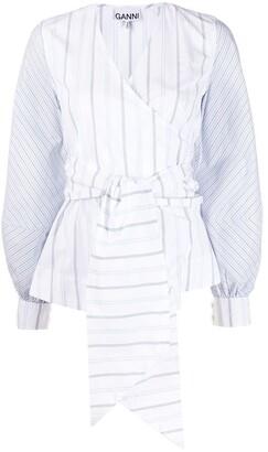 Ganni Striped Wrap Blouse