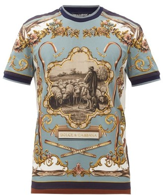 Dolce & Gabbana Shepherd-print Cotton-jersey T-shirt - Blue Multi
