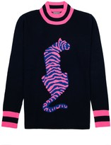 Orwell + Austen Cashmere Tiger Sweater In Navy