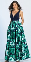 Dave and Johnny Plunging V-neck Floral Print A-line Prom Dress