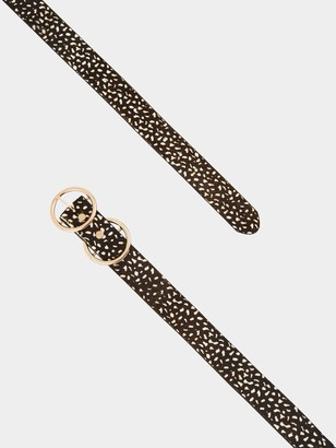 Very Orla Double Circle Detail Leather Belt - White Black