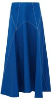Colville - Panelled Cotton-twill Skirt - Womens - Blue