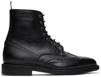 Thom Browne Black Pebble Leather Wingtip Boots