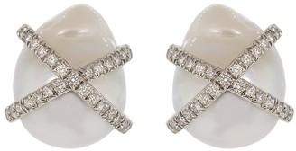 Verdura Diamond Wrapped Pearl Earrings