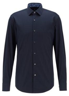 HUGO BOSS Slim Fit Shirt In Easy Iron Cotton - Dark Blue