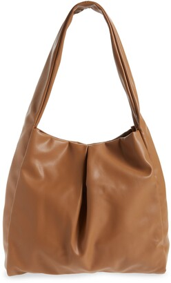 Street Level Pleated Faux Leather Hobo Bag