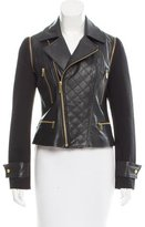 Badgley Mischka Leather-Paneled Zip-Up Jacket