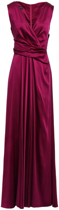 Talbot Runhof Wrap-effect Duchesse-satin Gown