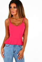 Pink Boutique Show Me Cerise Pink Frill Peplum Cami Top