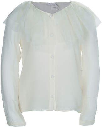 Christian Dior Cream Tulle Ruffle Detail Long Sleeve Silk Blouse 8 Yrs