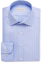 Etro Blue Slim-fit Striped Cotton-jacquard Shirt - Light blue