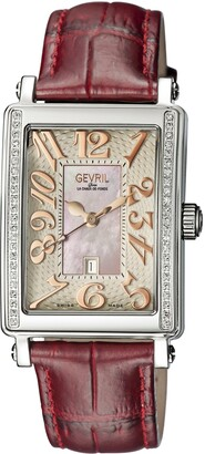 Gevril Woman's 'Ave Of Americas Mezzo' Quartz and Stainless Steel Diamond Leather Watch