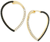 Vince Camuto Two-Tone Jet and Clear Crystal Teardrop Crossover Hoop Earrings