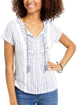 Style&Co. Style & Co Petite American Picnic Mixed-Print Top, Created for Macy's
