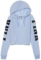 VS Pink VICTORIA'S SECRET Pink NEW Cropped Varsity Pullover Hoodie Color Blue (XSmall)
