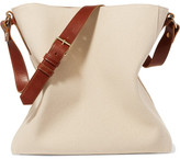 Lanvin New Hobo Leather-trimmed Cotton-canvas Tote - Ivory