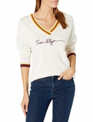 True Religion Women's Signature Long Sleeve V Neck Sweater