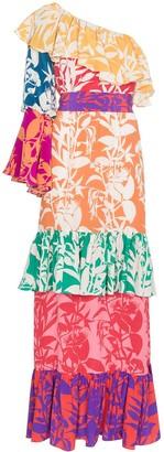 Borgo de Nor Penelope Floral Print Silk Dress