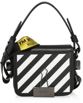 Off-White Baby Diagonal Binder Clip Leather Crossbody Bag