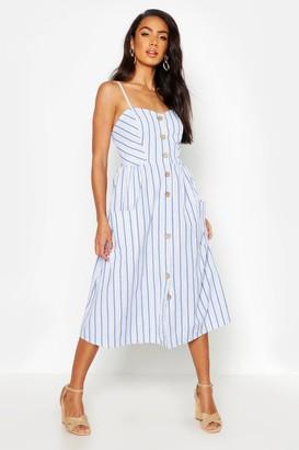 boohoo Stripe Button Through Linen Midi Dress