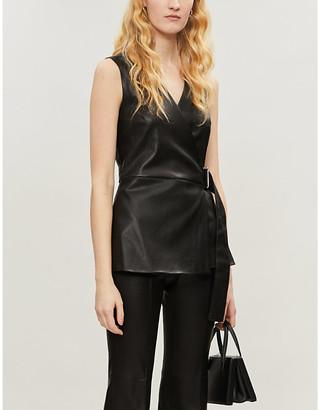 Rosetta Getty Tie-belt sleeveless leather top