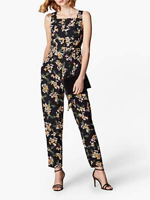 Karen Millen Tailored Floral Jumpsuit, Black/Multi