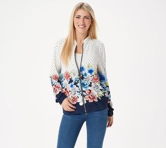 Susan Graver Solid & Printed Liquid Knit Bomber Jacket