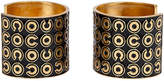 One Kings Lane Vintage Chanel Black & Gold Cuffs - Set of 2