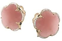 Pasquale Bruni 18K Rose Gold Bon Ton Dark Pink Chalcedony & Diamond Floral Earrings