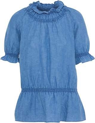 MiH Jeans Parkin Linen And Cotton-blend Chambray Peplum Top