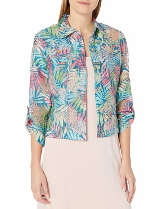 Ruby Rd. Women's Petite Button-Front Tropical Palms Printed Crinkle Burnout Shirt Jacket