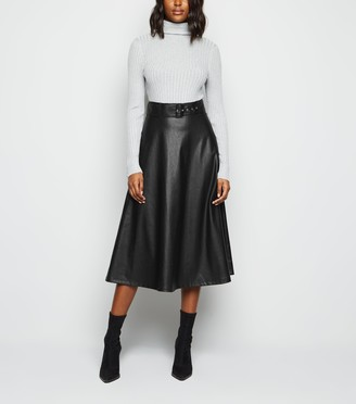 New Look Coated Leather-Look Belted Midi Skirt