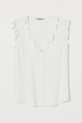 H&M Creped Flounced Blouse - White
