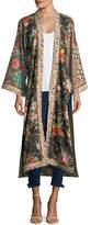Alice + Olivia Lynn Long Side-Slit Floral-Print Silk Kimono Jacket