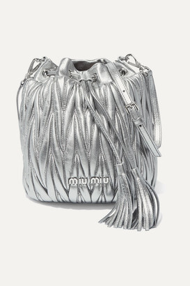 Miu Miu Metallic Matelasse Leather Bucket Bag - Silver