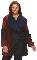 Details Plus Size Plaid Shawl Collar Wool Blend Coat