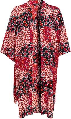 Evans Red Floral Print Patchwork Kimono