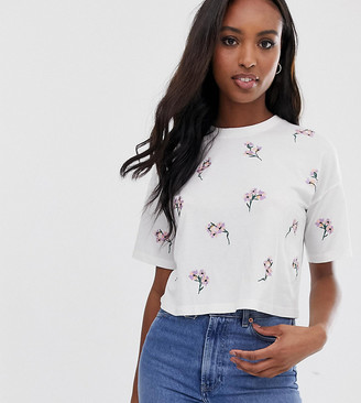 Asos Tall DESIGN Tall boxy t-shirt with all over ditsy embroidery in white