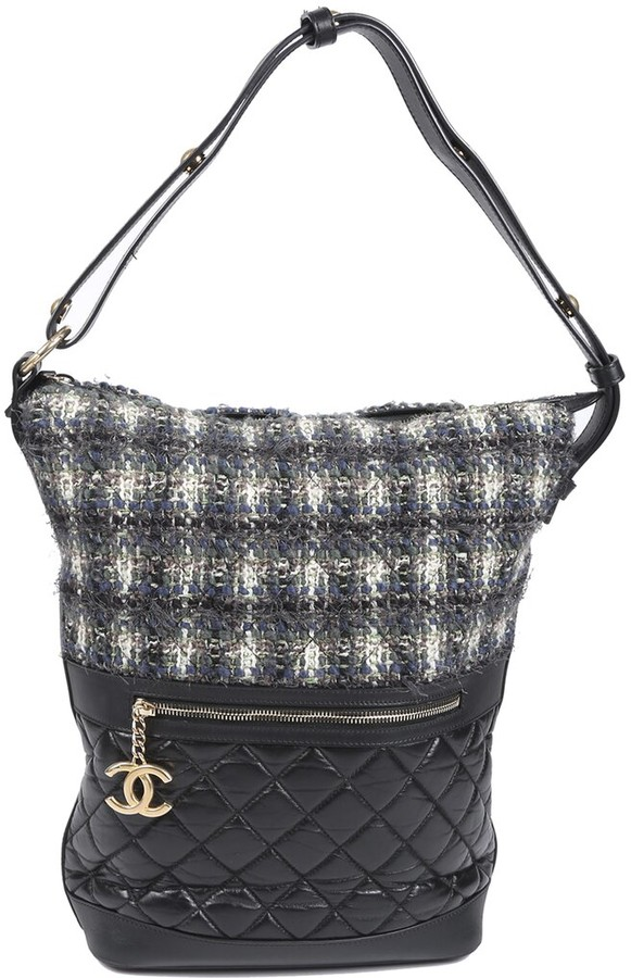 Chanel Quilted Aged & Crinkled Calfskin Leather Hobo Bag