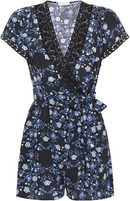 Sandro Laith Wrap-effect Lace-trimmed Floral-print Crepe De Chine Playsuit