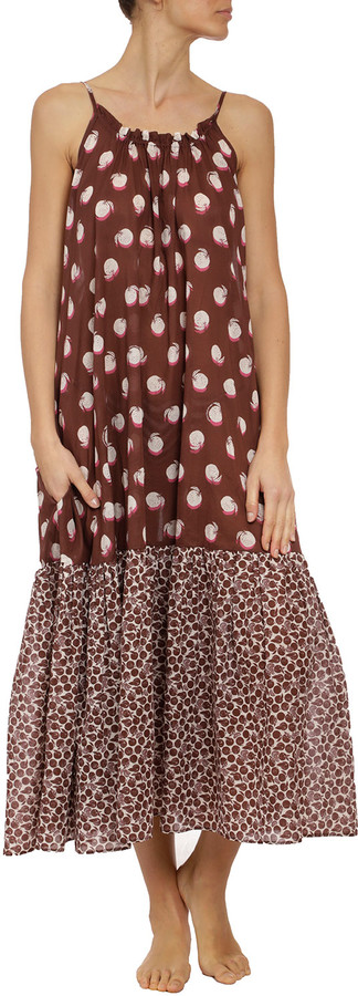 Thumbnail for your product : Stella McCartney Ruched Orange-Print Long Dress