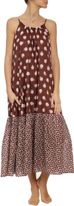 Stella McCartney Ruched Orange-Print Long Dress