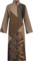 Etro Paneled wool-blend, jacquard and brocade coat