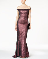 B Michael Off-The-Shoulder Metallic Jacquard Gown